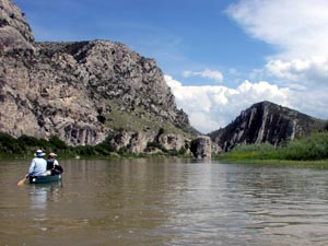 Canoeing the Jefferson River near Sappington, MT.