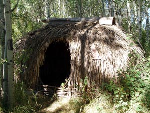 Large primitive shelter hut.